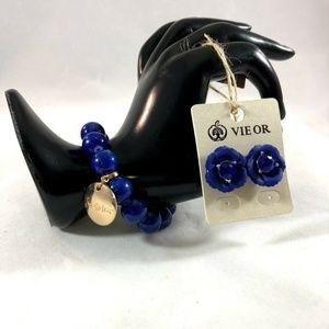Set Blue Acrylic Bracelet + Stud Earrings Blue
